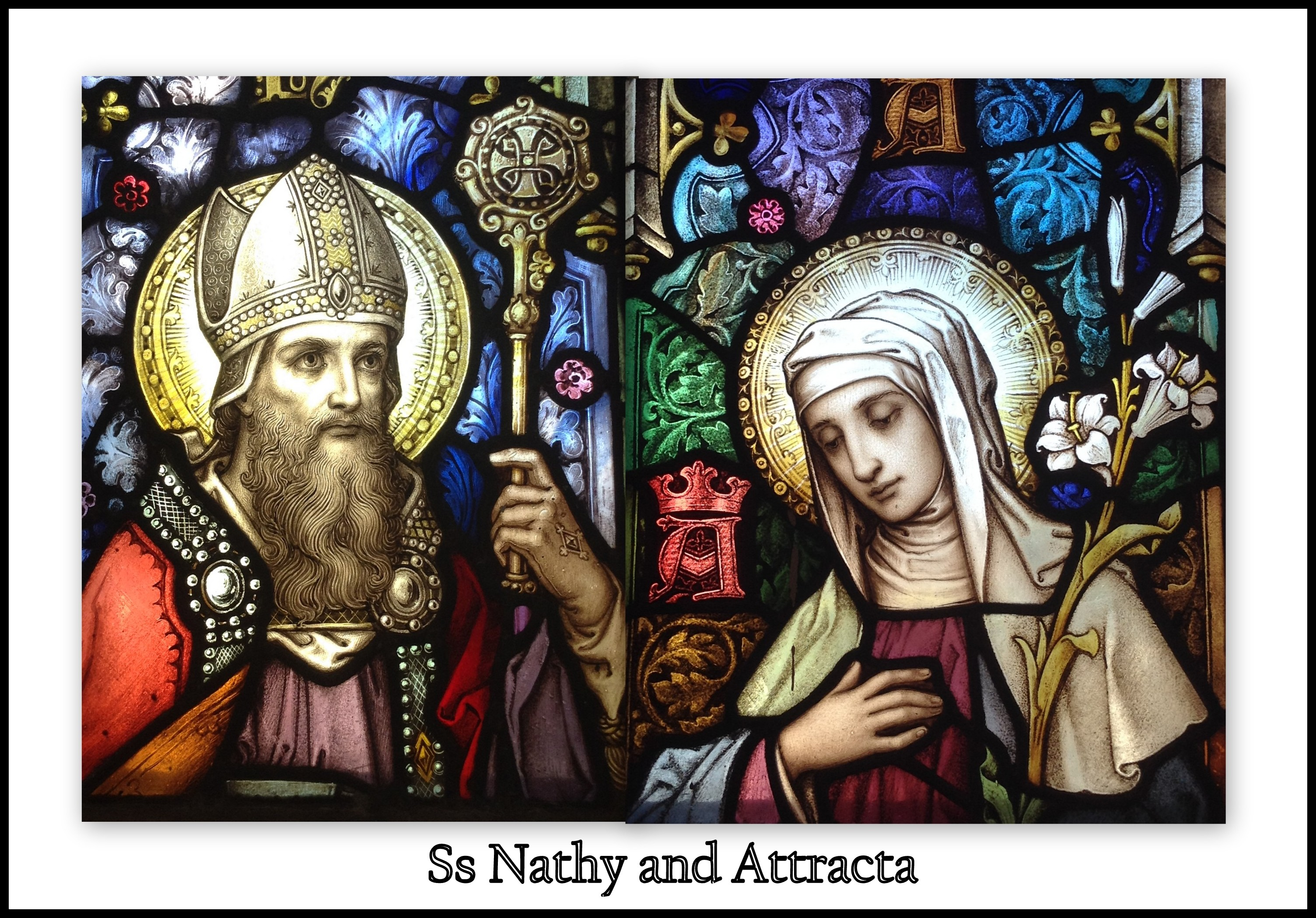 Stained Glass Images of Ss Nathy and Attracta of Achonry in Kilmovee Parish Church, Co. Mayo